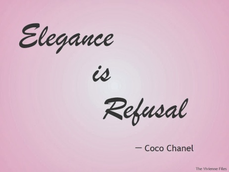 Elegance is Refusal